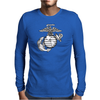 FUNNY MARINE LOGO USA Mens Long Sleeve T-Shirt