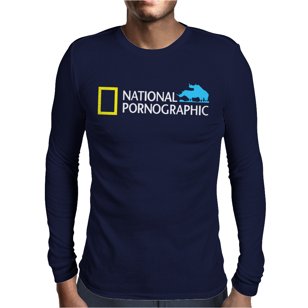 Funny National Geographic Pornographic Rhino Porn Dirty Mens Long Sleeve T-Shirt