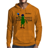Funny Pickle Playing Pickleball with Paddle and Net Art Mens Hoodie