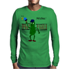 Funny Pickle Playing Pickleball with Paddle and Net Art Mens Long Sleeve T-Shirt