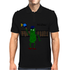 Funny Pickle Playing Pickleball with Paddle and Net Art Mens Polo