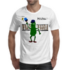 Funny Pickle Playing Pickleball with Paddle and Net Art Mens T-Shirt