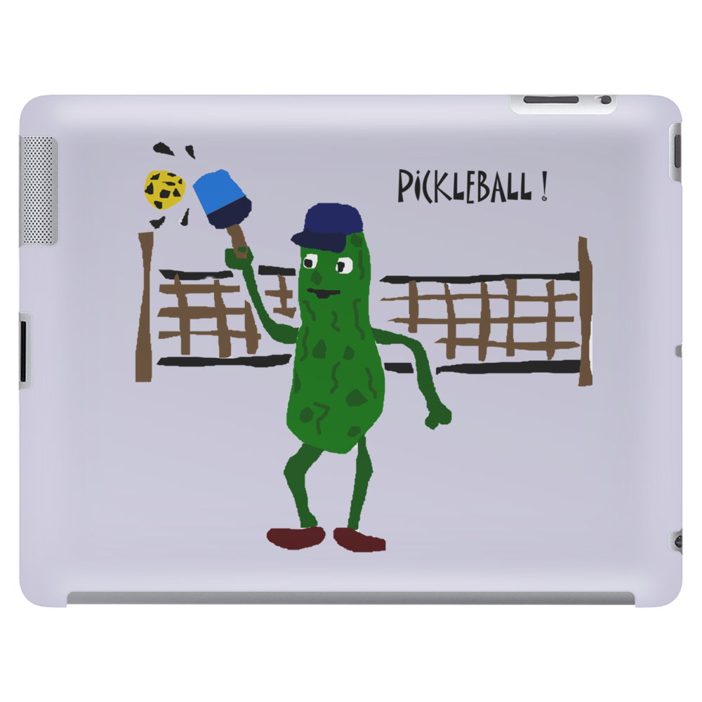 Funny Pickle Playing Pickleball with Paddle and Net Art Tablet