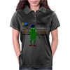 Funny Pickle Playing Pickleball with Paddle and Net Art Womens Polo