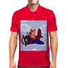 Funny Pink Pig Flying in Biplane Mens Polo