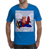 Funny Pink Pig Flying in Biplane Mens T-Shirt
