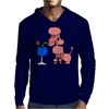 Funny Pink Poodle Drinking Blue Daiquiri Mens Hoodie