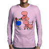 Funny Pink Poodle Drinking Blue Daiquiri Mens Long Sleeve T-Shirt
