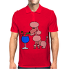 Funny Pink Poodle Drinking Blue Daiquiri Mens Polo