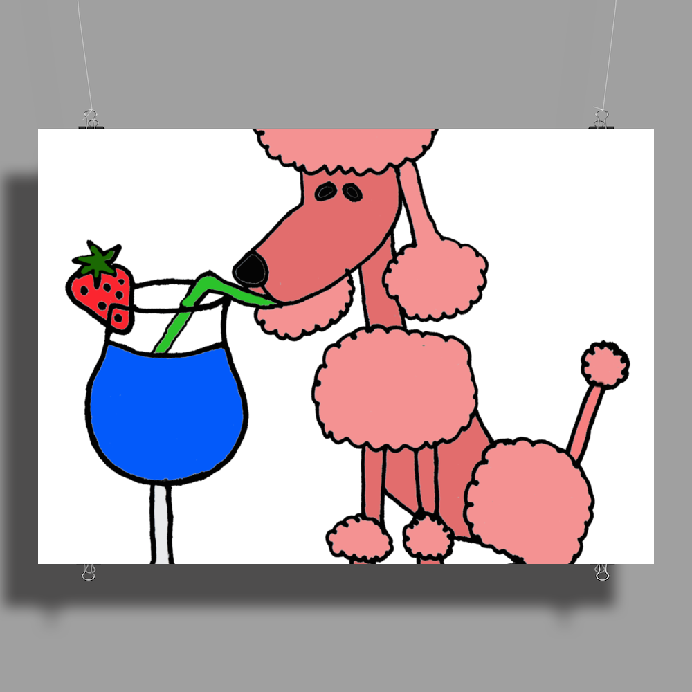 Funny Pink Poodle Drinking Blue Daiquiri Poster Print (Landscape)
