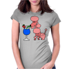Funny Pink Poodle Drinking Blue Daiquiri Womens Fitted T-Shirt