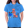 Funny Pink Poodle Drinking Blue Daiquiri Womens Polo