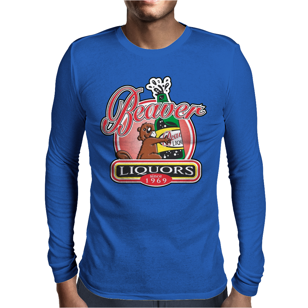 Funny Rude  Beaver Liquors, Ideal Gift Or Birthday Present. Mens Long Sleeve T-Shirt