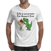 Funny T-Rex Dinosaur Eating Ice Cream Sundae Cartoon Mens T-Shirt