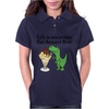 Funny T-Rex Dinosaur Eating Ice Cream Sundae Cartoon Womens Polo