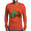Funny Tyrannosaurus Rex is Playing the Piano Mens Long Sleeve T-Shirt