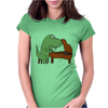Funny Tyrannosaurus Rex is Playing the Piano Womens Fitted T-Shirt
