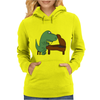 Funny Tyrannosaurus Rex is Playing the Piano Womens Hoodie