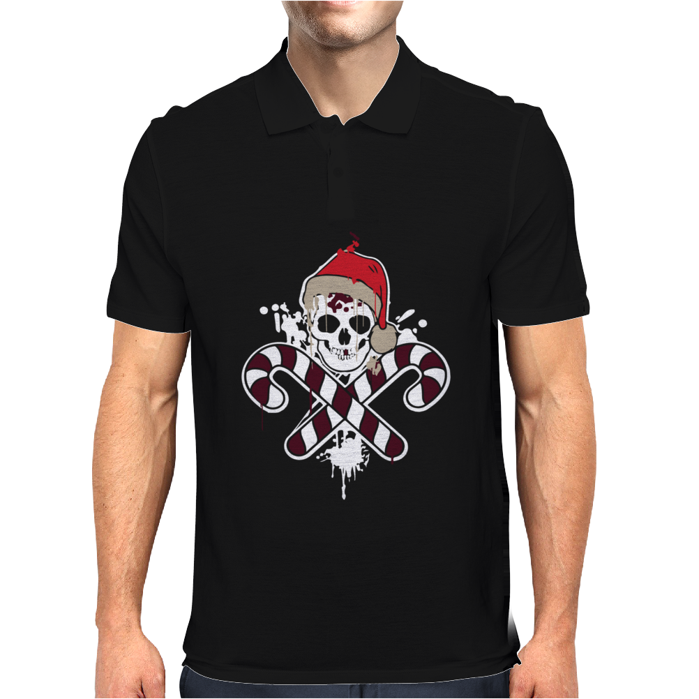 Gangster Skull and Crossbones Christmas Pirate Mens Polo