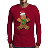 Gingerbread Man With Santa Hat Mens Long Sleeve T-Shirt