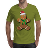 Gingerbread Man With Santa Hat Mens T-Shirt