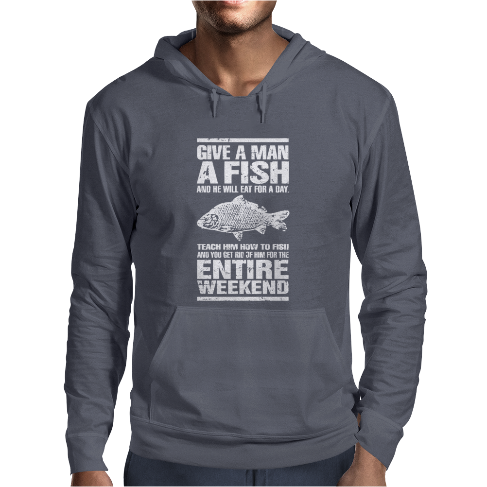 Give A Man A Fish Mens Funny Fishing Mens Hoodie