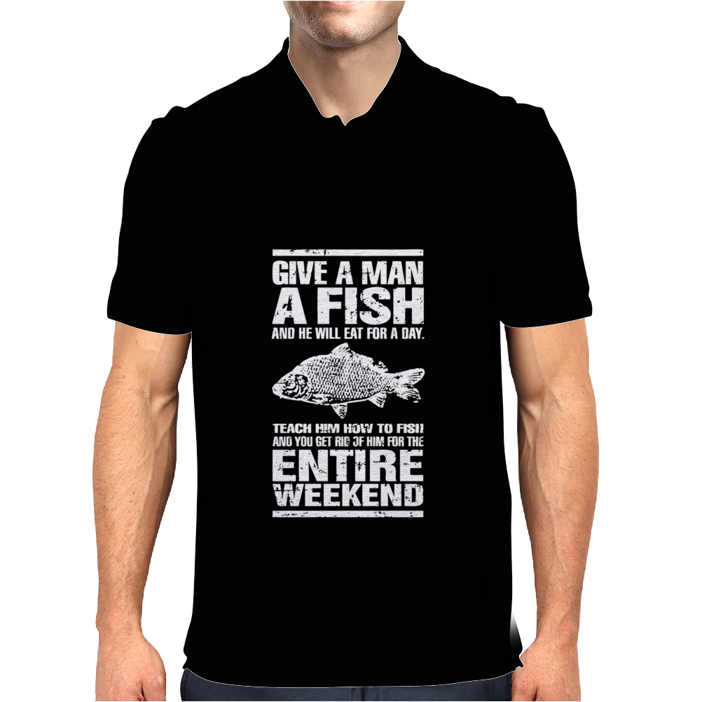Give A Man A Fish Mens Funny Fishing Mens Polo