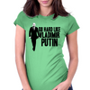 GO HARD LIKE VLADIMIR PUTIN (black and white) Womens Fitted T-Shirt