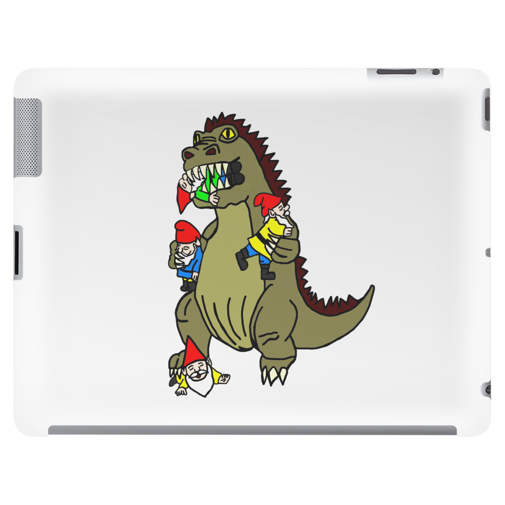 Godzilla Monster Eating Gnomes Tablet (horizontal)