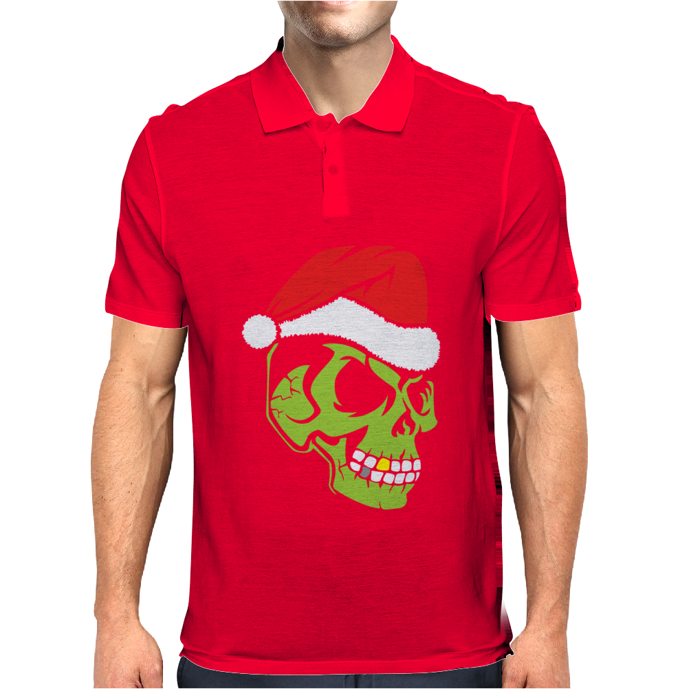 Gold Tooth Green Skull Santa Hat Christmas Mens Polo