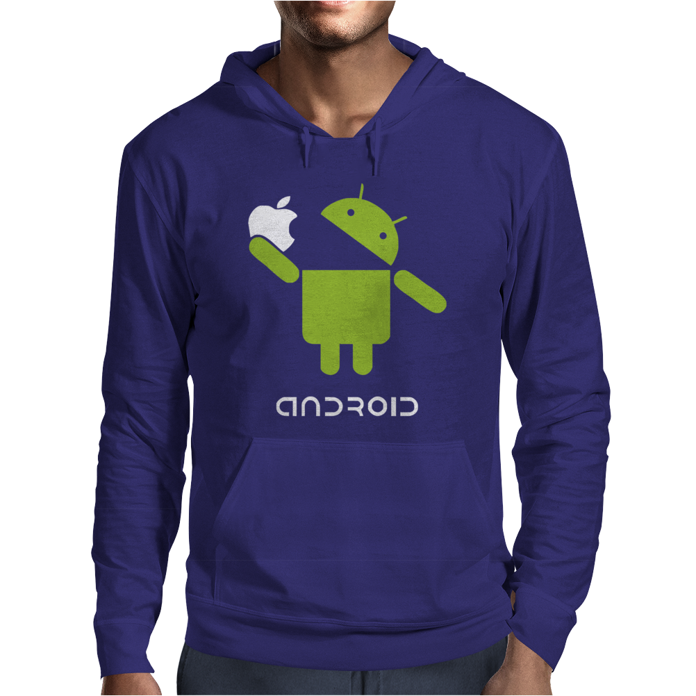 Google Android Robot Eat Apple Funny Mens Hoodie