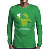 Google Android Robot Eat Apple Funny Mens Long Sleeve T-Shirt