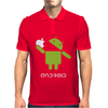 Google Android Robot Eat Apple Funny Mens Polo