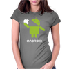Google Android Robot Eat Apple Funny Womens Fitted T-Shirt