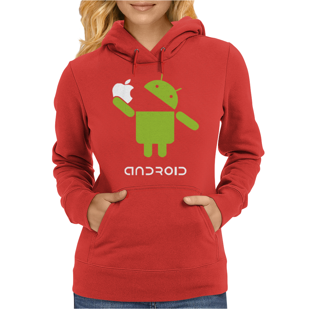 Google Android Robot Eat Apple Funny Womens Hoodie
