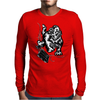 Gorilla with a gun, headphones and mixing equipment on the loose. Mens Long Sleeve T-Shirt