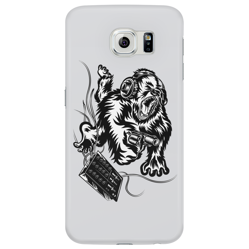 Gorilla with a gun, headphones and mixing equipment on the loose. Phone Case