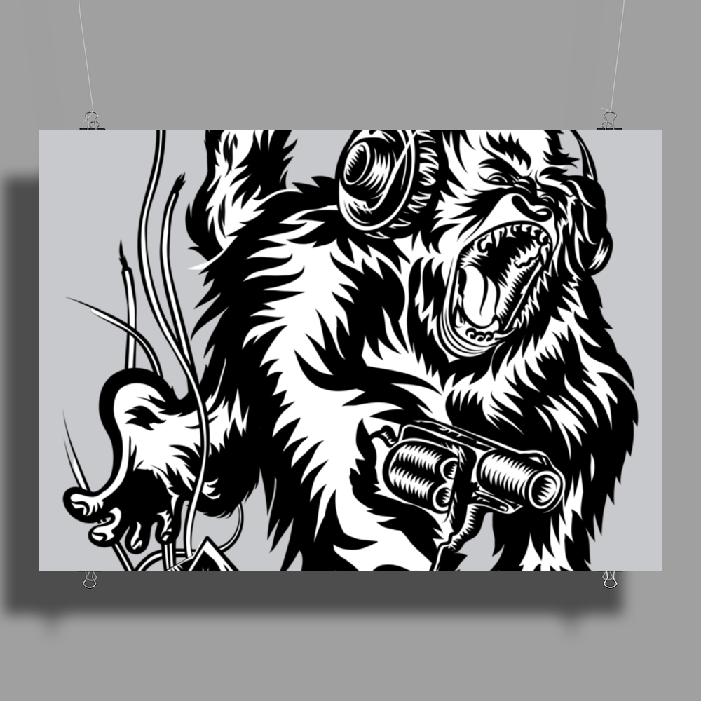 Gorilla with a gun, headphones and mixing equipment on the loose. Poster Print (Landscape)