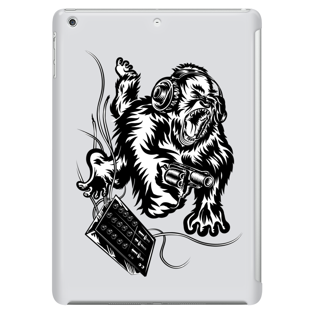 Gorilla with a gun, headphones and mixing equipment on the loose. Tablet