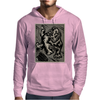 Gorilla with a gun, headphones and mixing equipment on the loose with background. Mens Hoodie