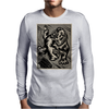 Gorilla with a gun, headphones and mixing equipment on the loose with background. Mens Long Sleeve T-Shirt