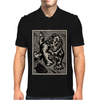 Gorilla with a gun, headphones and mixing equipment on the loose with background. Mens Polo
