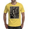 Gorilla with a gun, headphones and mixing equipment on the loose with background. Mens T-Shirt