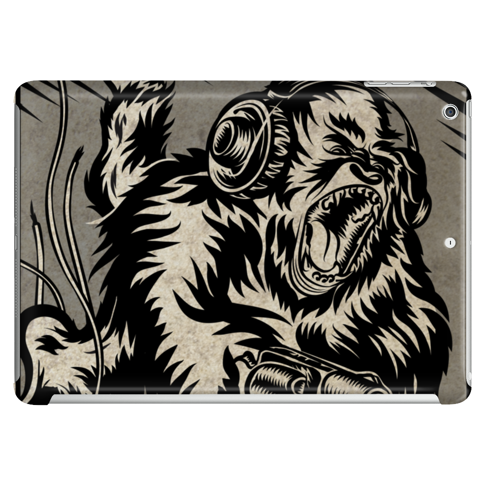 Gorilla with a gun, headphones and mixing equipment on the loose with background. Tablet