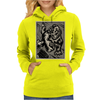 Gorilla with a gun, headphones and mixing equipment on the loose with background. Womens Hoodie
