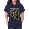 Gorilla with a gun, headphones and mixing equipment on the loose with background. Womens Polo