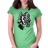 Gorilla with a gun, headphones and mixing equipment on the loose. Womens Fitted T-Shirt