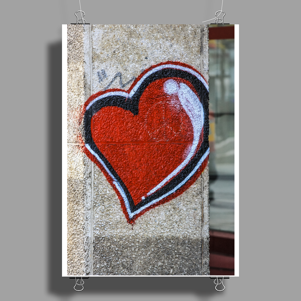 graffiti heart city peace sign flower power love Poster Print (Portrait)