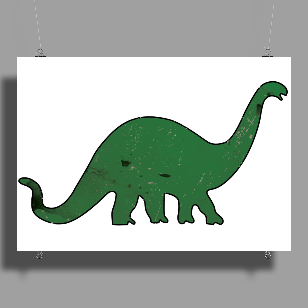 Green dino distressed version Poster Print (Landscape)