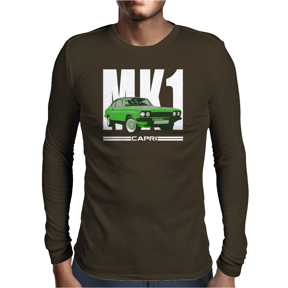 Green Ford Capri MK1 Classic Car Mens Long Sleeve T-Shirt